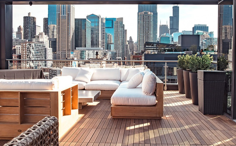 rooftop lounge with couches