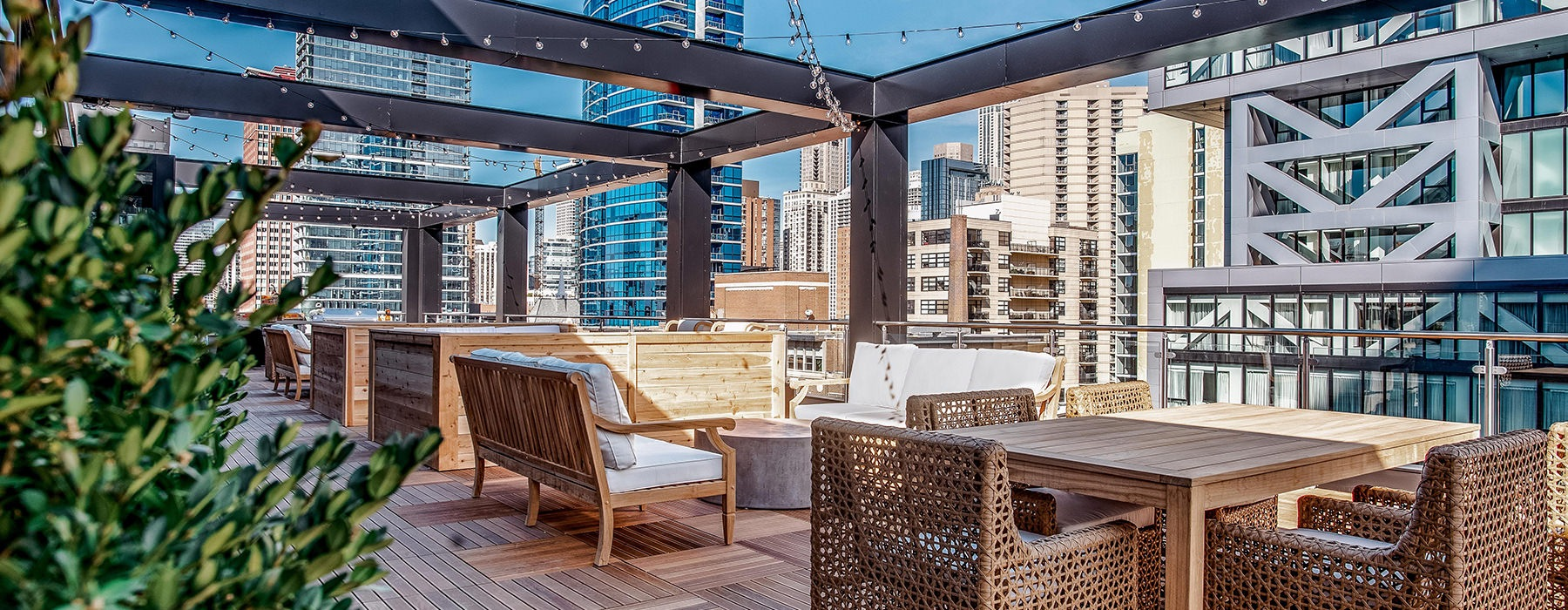 rooftop lounge with chairs and tables